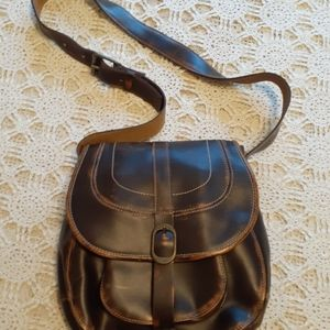 PATRICIA NASH Brown Distressed Leather Bag Purse